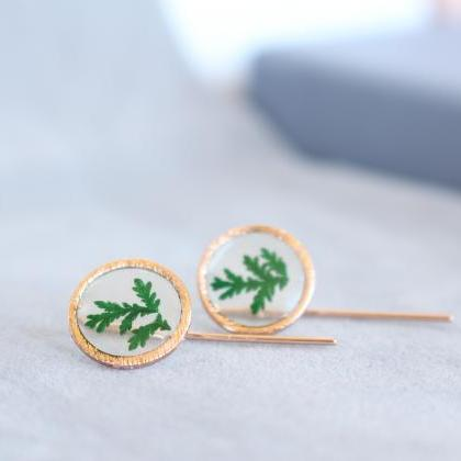 Real fern earrings, minimalist gree..