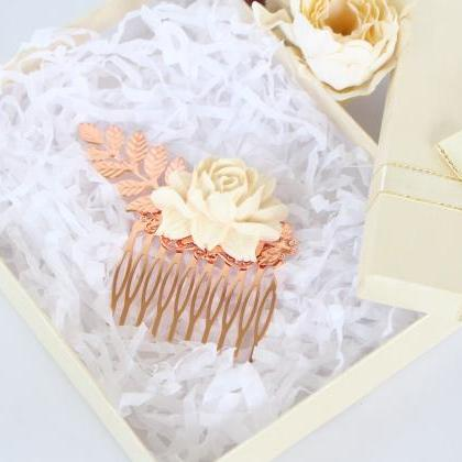 Rose gold wedding hair accessories ..