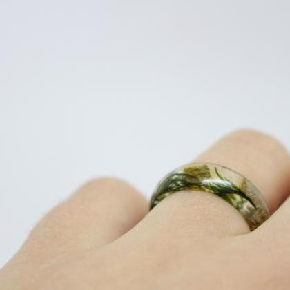 Resin ring, moss resin ring, unique..