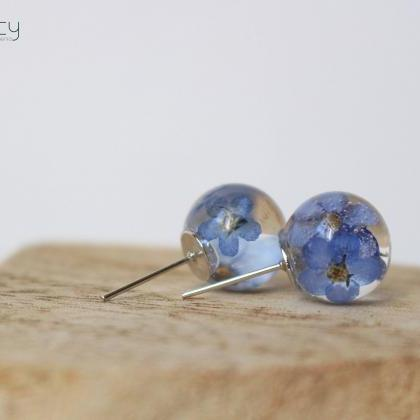 Forget me not earrings , blue stud ..