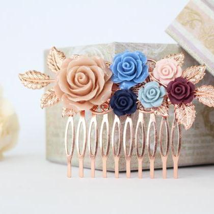 Wedding hair comb floral, rose gold..
