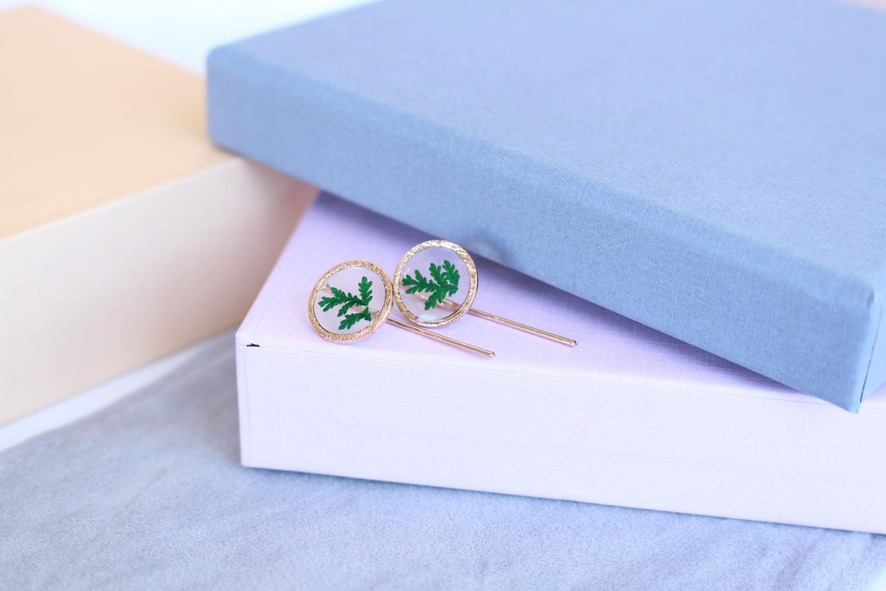 Real fern earrings, minimalist green earrings, pressed flower earrings, living plant jewelry, real flower earrings, bridesmaid jewelry gifts