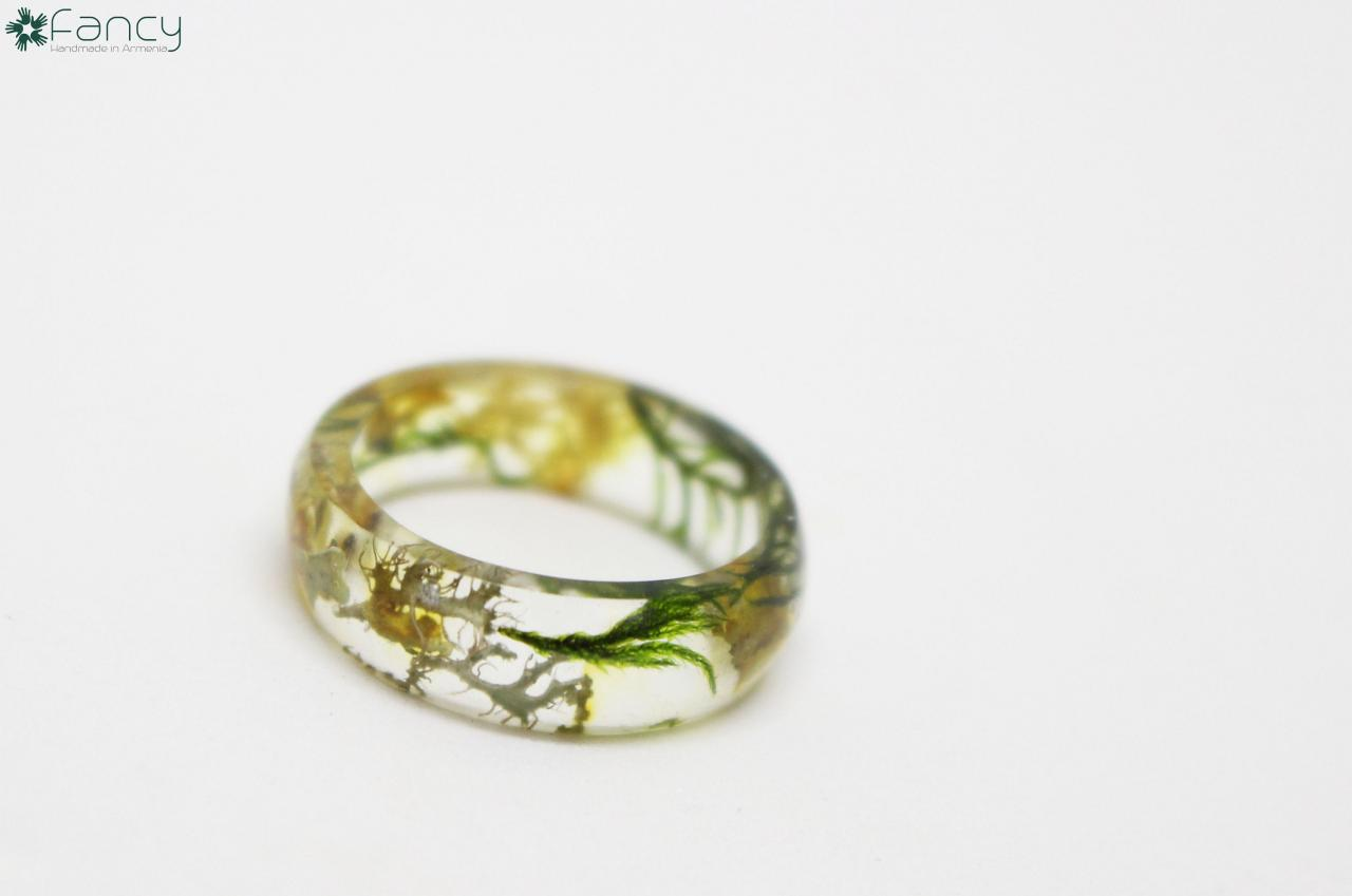 Resin ring, moss resin ring, unique rings for women, real moss ring, resin rings, unique rings for her, resin ring moss, natural ring