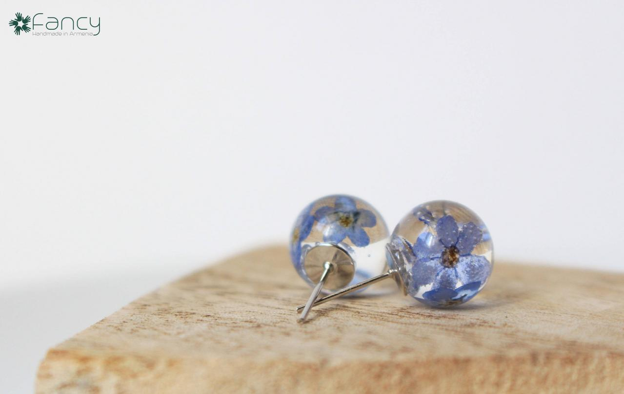 Forget me not earrings , blue stud earrings , real flower stud earrings , resin jewelry earrings , unique gift ideas , Armenian jewelry