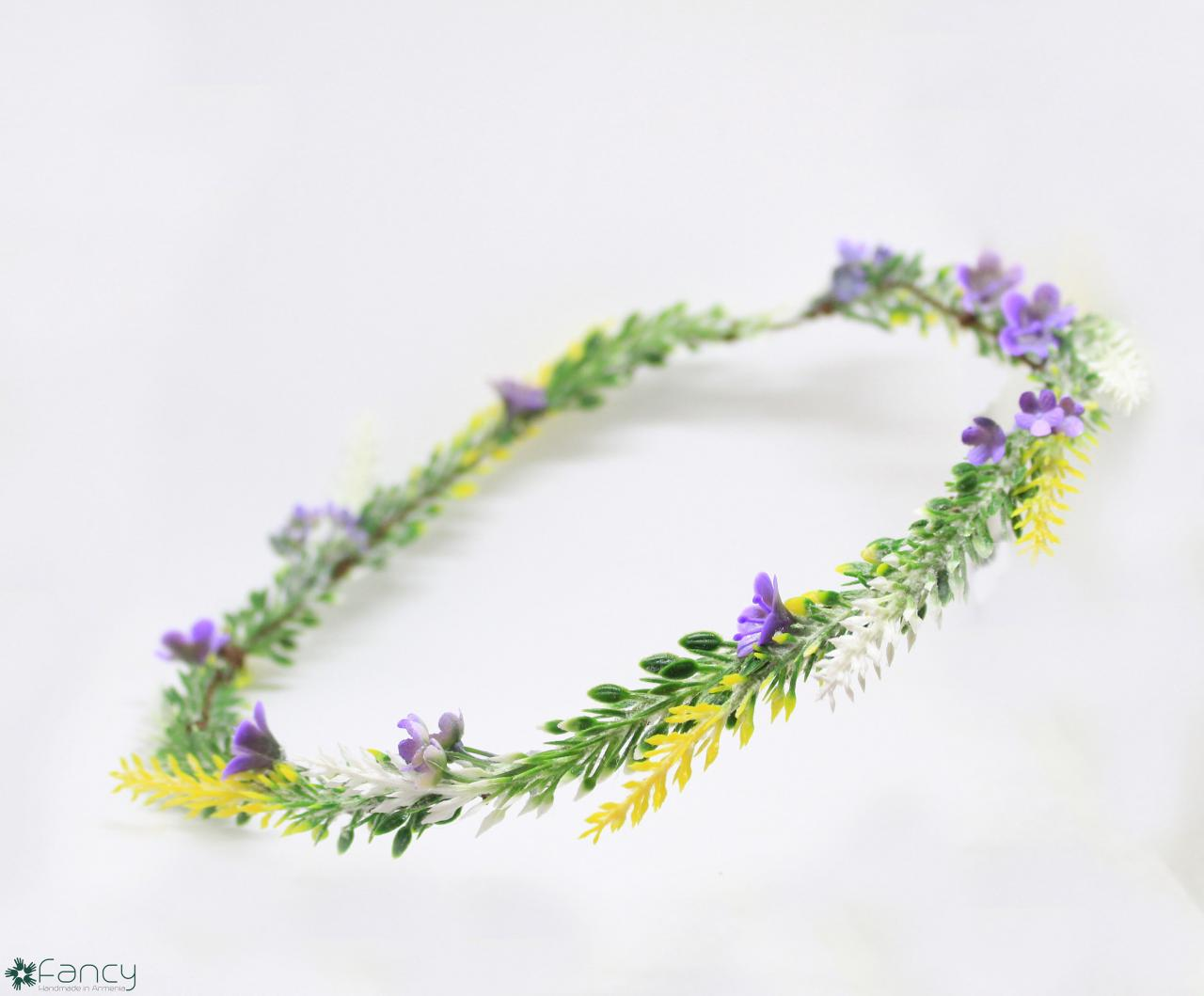 Flower girl hair wreath, flower girl hair accessories lavender, wedding hair flower crown, flower girl crown yellow, yellow hair accessories.
