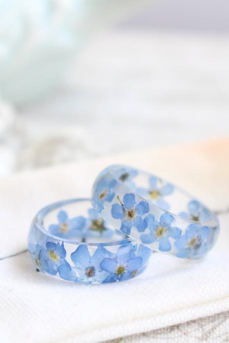 Forget me not ring, real flower ring, unique rings pressed flower jewelry, unique rings for women, girlfriend gift rings from flowers
