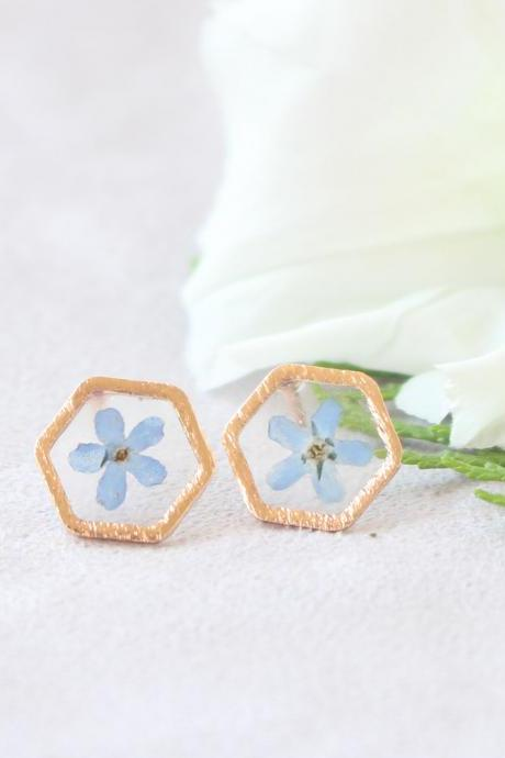 Forget me not earrings, pressed flower studs, minimalist gold earrings studs, blue stud earrings tiny blue, something blue for her