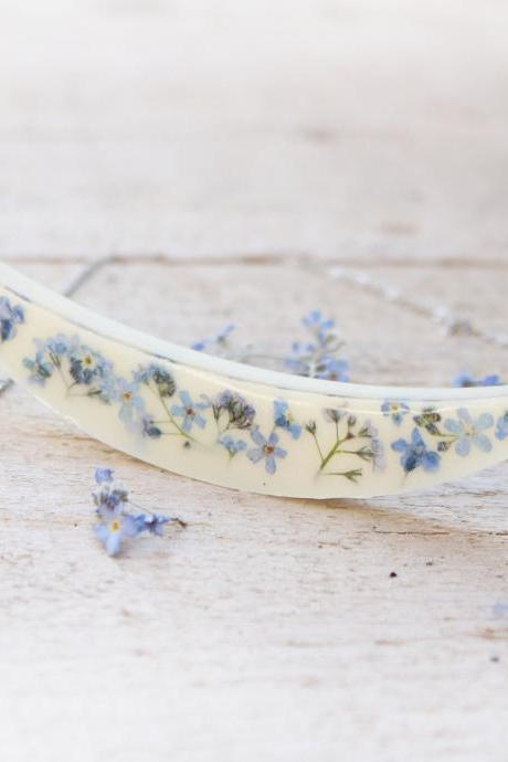 Forget me not flower necklace, Pressed flower jewelry gift, unique necklaces for women, blue and white jewelry, dry flower resin jewelry