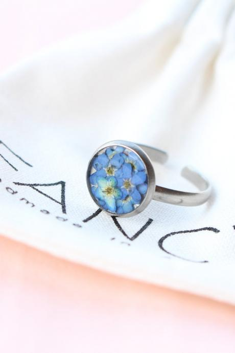 Forget me not ring, pressed flower ring, minimalist ring for women, forgetmenot jewelry, rings for her, unique rings, memorial rings