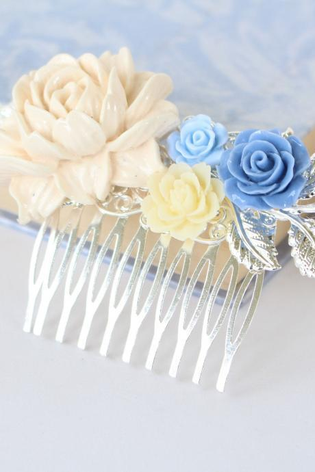 Blue wedding hair accessories, dusty blue wedding hair piece, flower wedding hair comb beige