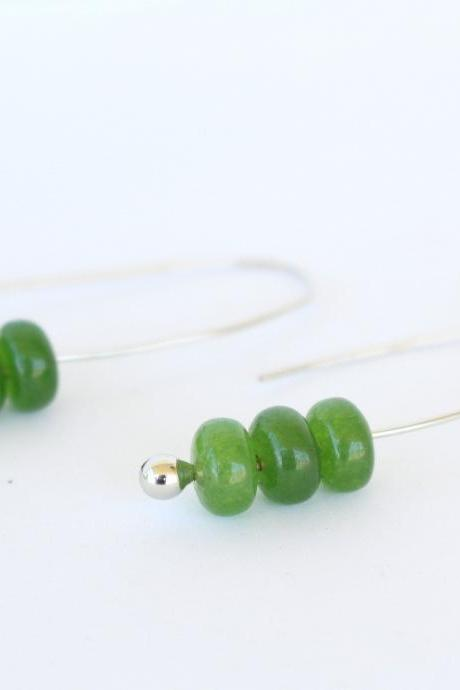 Modern minimalist earrings, long green earrings, green emerald hook earrings, emerald minimalist earrings, simple green earring