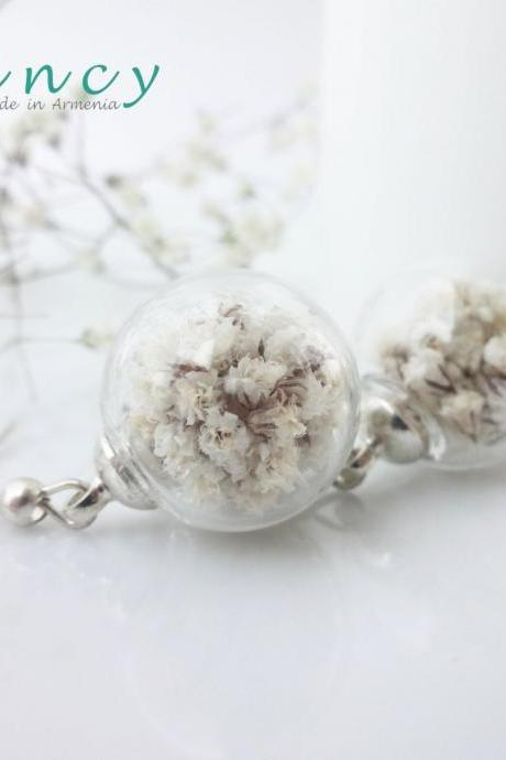 Bride earrings white flowers Bridesmaid gift jewelry babys breath earings wedding jewelry for bridesmaids botanical jewelry real flower orb