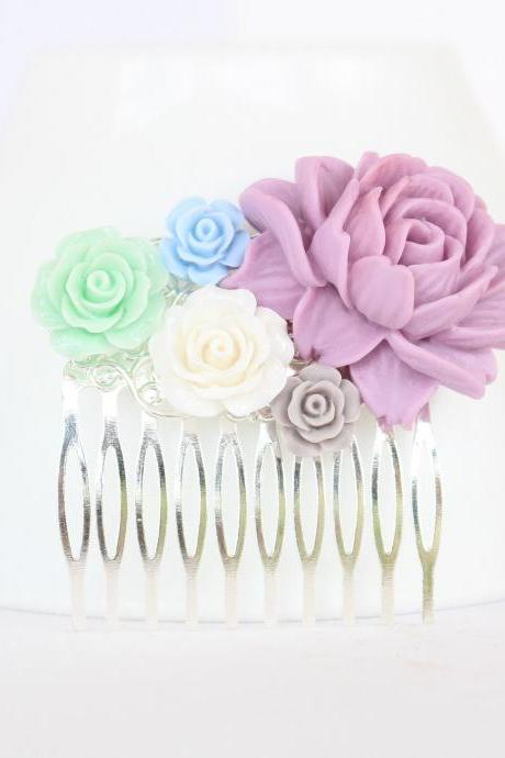 Pink flower hair comb, dusty pink wedding comb, dusty blue bridesmaid gifts, bridesmaid hair accessories, hair piece for bride flowers