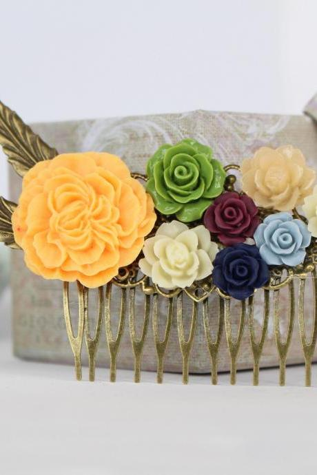 Rustic hair piece for wedding, orange wedding bridal hair comb, colorful hair combs, vintage style wedding jewelry, vintage bridesmaid gift