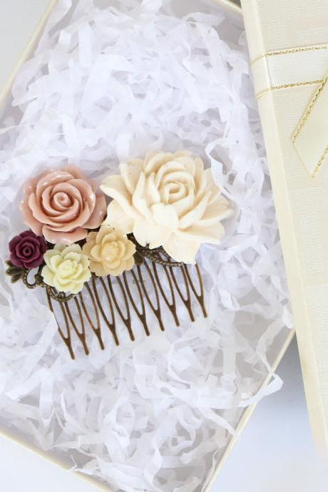 Rustic wedding hair piece, beige wedding comb, peach rose decorative comb, fall wedding hair piece, vintage style wedding combs
