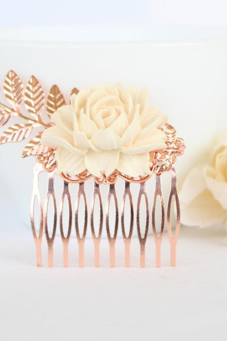 Rose gold wedding hair accessories , rose gold flower hair comb wedding, beige wedding hair comb, decorative hair combs weddings