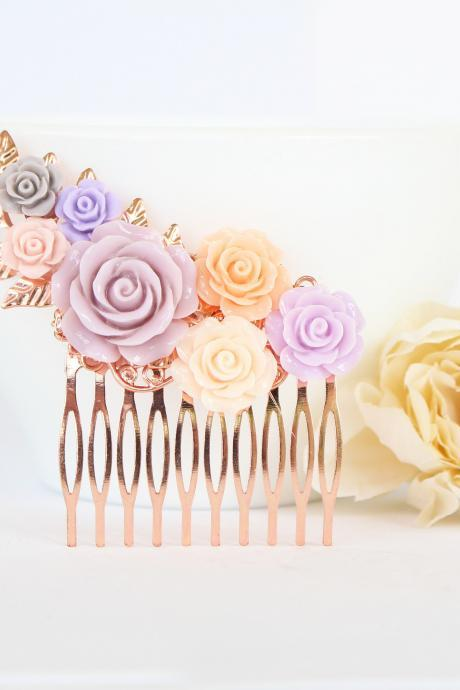 Rose gold flower hair comb wedding, pink wedding hair accessories, pink flower hair piece,bridesmaid hair comb, hair pieces for wedding gold