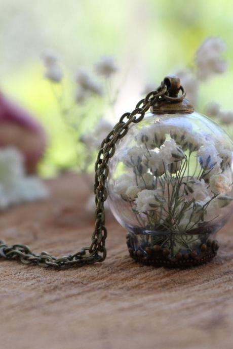 Unique necklace handmade, real flower necklace terrarium necklace,flowers in glass,dried flower necklace handmade,botanical jewelry necklace
