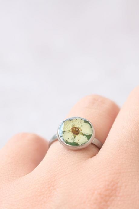 Real flower ring - Unique rings - Minimalist ring resin - Resin rings - Adjustable ring for woman - Green and white ring - Pressed flowers
