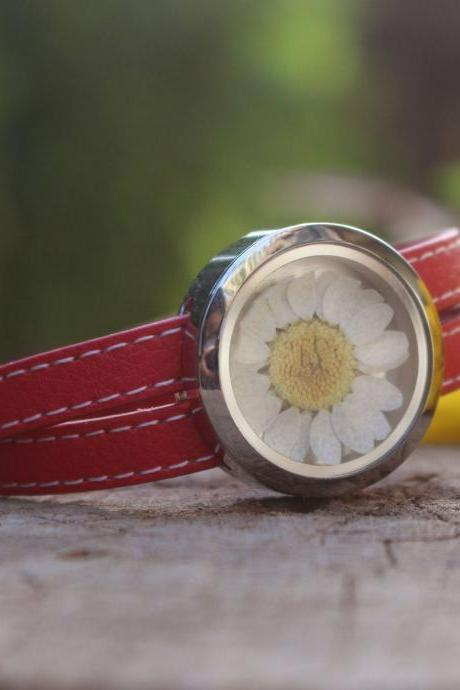 Double leather bracelet, natural leather bracelet, real flower bracelet, natural jewelry gift, natural gifts for women, red leather bracelet