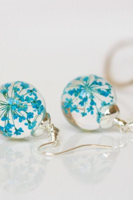 Turquoise earrings for bridesmaid, real flower earrings, pressed flower earrings, turquoise resin jewelry , turquoise wedding earrings,