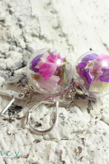 Real flower earrings , friend birthday gift , colorful earrings floral , terrarium jewelry sphere , nature earring , Handmade in Armenia