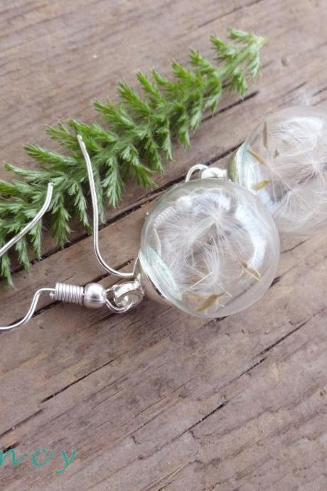 Dandelion earrings Real flower earrings Seeds jewelry Real flower jewelry Globe earrings Make a wish Glass vial earrings Armenian jewelry