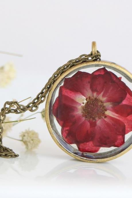Real rose necklace , dried rose jewelry , red rose necklace , girlfriend gift necklace , girlfriend birthday gift , locket necklace rose