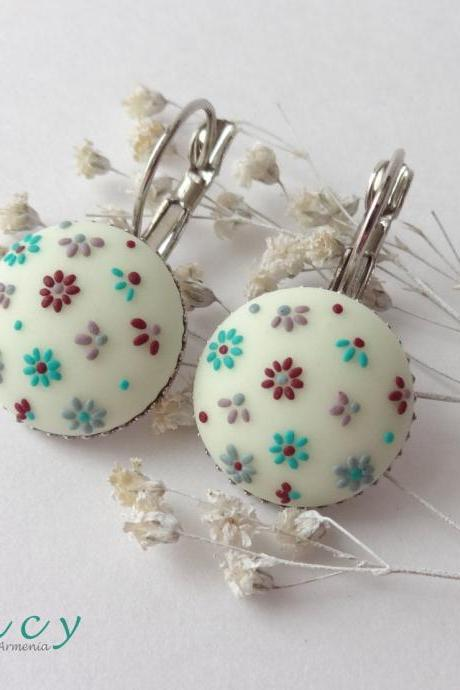French earrings embroidered flowers clay , turquoise jewelry for women, delicate earrings white , spring embroidery design gift ideas