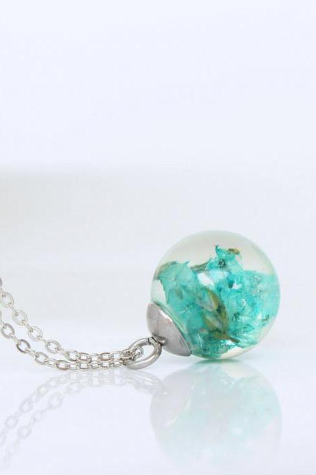 Turquoise flower necklace , turquoise necklace women , living plant jewelry , dry flower necklace, crystal resin flower , sphere glass