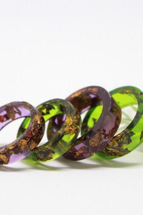 Purple resin ring, deep purple ring, unique rings for women, resin jewelry ring, stackable rings for women, copper rings for women gifts