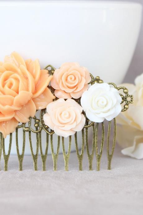 Peach wedding hair comb, flower wedding bridal hairpiece, rustic bridal hair comb, ivory hair pins wedding, hair flowers for wedding gifts