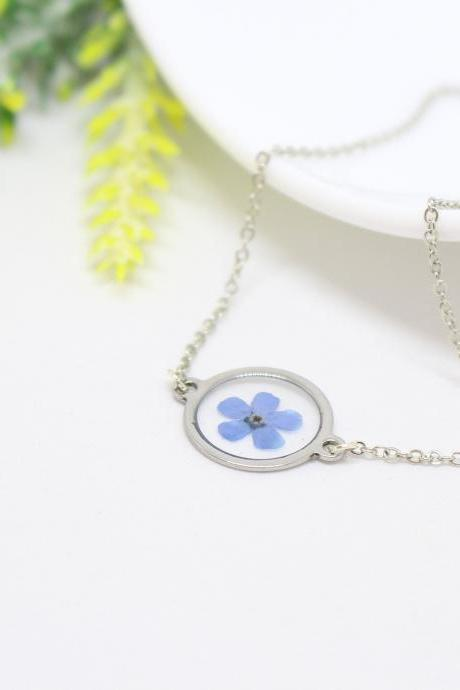 Gifts for her, real forget me not necklace, geometrical pendant, blue flower necklace, circle necklace resin, flower in resin necklace gifts