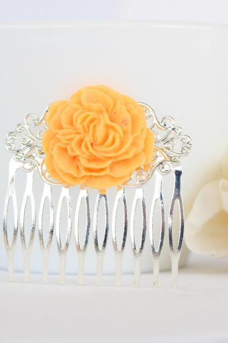 Orange flower hair comb, orange wedding comb, sunflower hair comb, wedding comb for brides, sunflower hair accessories, yellow hair combs