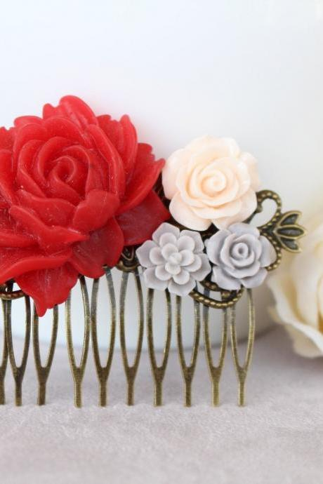 Red hair comb, red wedding hair accessories, red bridesmaid hair accessory, flower hair comb wedding ivory, bridal flower comb, red flower