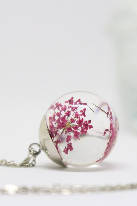 Real flower necklace , birthday gift ideas for daughter , pressed flower necklace , mini terrarium necklace , rose flower necklace ,Armenian