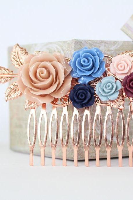 Wedding hair comb floral, rose gold wedding hair accessories, flower bridal comb, flower bridal comb, bridesmaid hair comb
