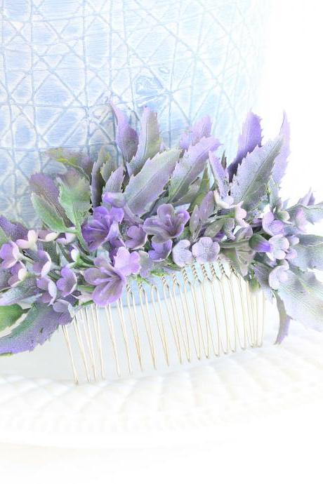 Floral hair comb wedding , lavender grey wedding , purple hair accessories for wedding , purple wedding jewelry for brides , Armenian gifts