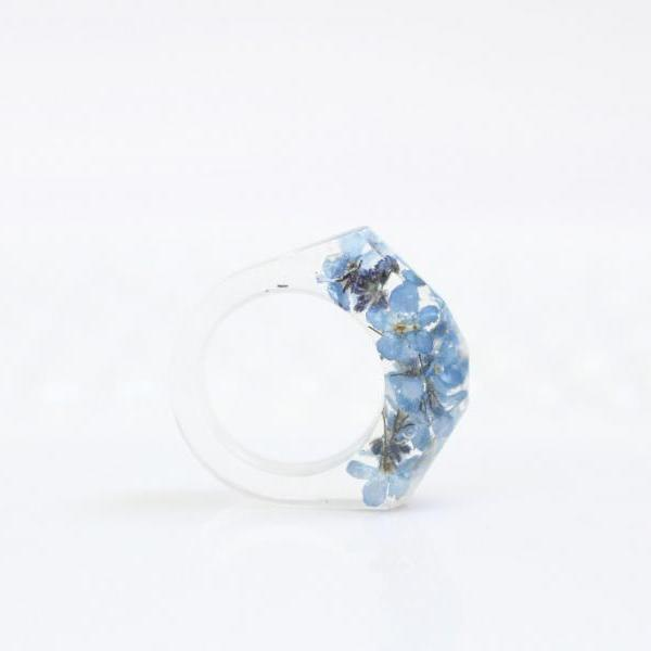 Forget me not ring, blue flower resin rings, pressed flower ring resin, unique rings for her, resin ring blue, large rings women gift